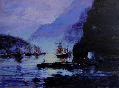 Pirate Ship Painting - Pirate's Cove by R W Goetting