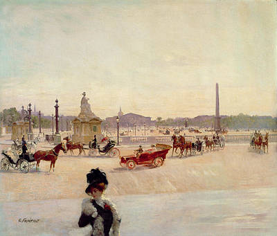 Place De La Concorde - Paris  Print by Georges Fraipont