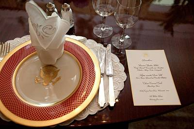 Michelle Obama Photograph - Place Setting Of The White House China by Everett