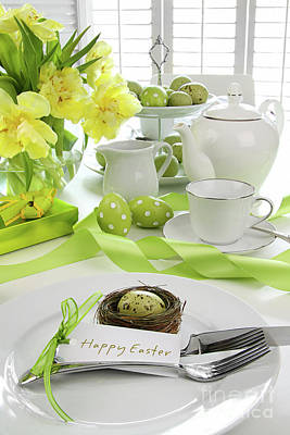 Place Setting With Card For Easter Brunch Print by Sandra Cunningham
