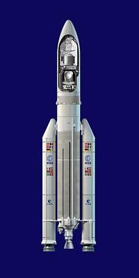 Planck And Herschel Rocket, Artwork Print by David Ducros
