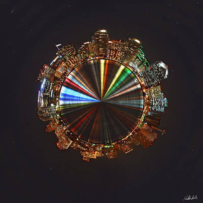 Panoramic Digital Art - Planet Wee San Diego California By Night by Nikki Marie Smith