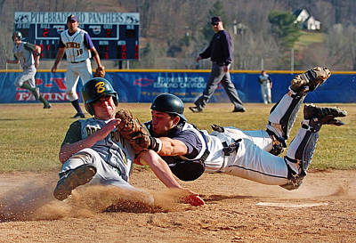 Home Plate Photograph - Play At The Plate by Wade Aiken