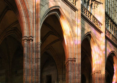 Play Of Light And Shadow - Saint Vitus' Cathedral Prague Castle Print by Christine Till