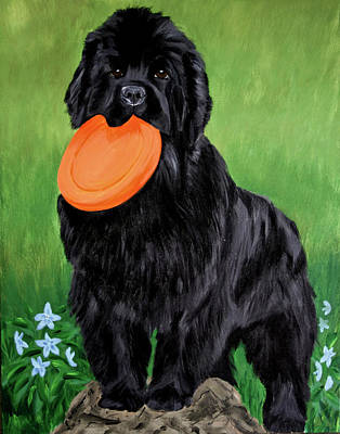 Newfie Painting - Play With Me by Sharon Nummer