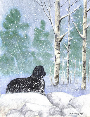 Newfie Painting - Playing In The Blizzard by Sharon Nummer