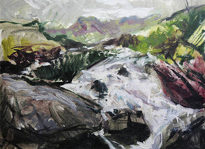 Trees Painting - Plein Air In Snowdonia by Harry Robertson
