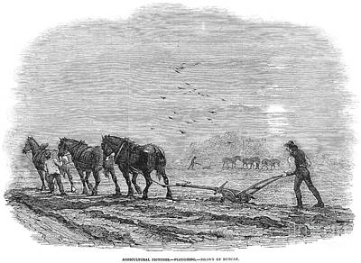 Horse-drawn Plow Photograph - Ploughing, 1846 by Granger
