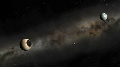 Solar Eclipse Digital Art - Pluto And Charon Artwork by Mark Garlick