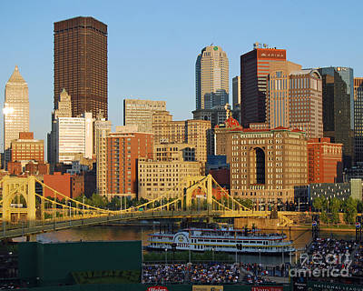 Pnc Park And River Boat Print by Steve Whalen