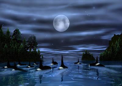 Orca Digital Art - Pod Of Orca by Walter Colvin