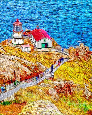 Bay Area Digital Art - Point Reyes Lighthouse by Wingsdomain Art and Photography