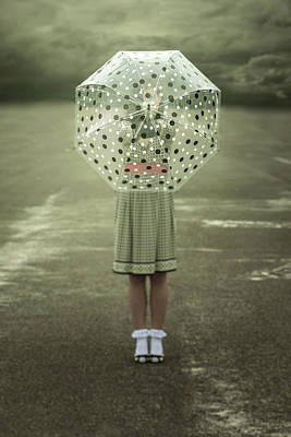 Polka Dotted Umbrella Print by Joana Kruse