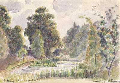 Graphite Painting - Pond At Kew Gardens by Camille Pissarro