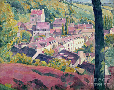 Rooftops Painting - Pont Aven Seen From The Bois D'amour by Emile Bernard