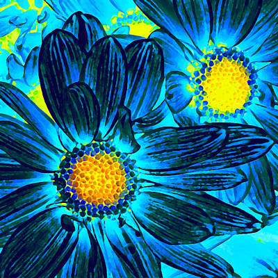 Blue Flowers Photograph - Pop Art Daisies 7 by Amy Vangsgard