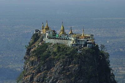 Popa Mountain Top Temple Print by Huang Xin