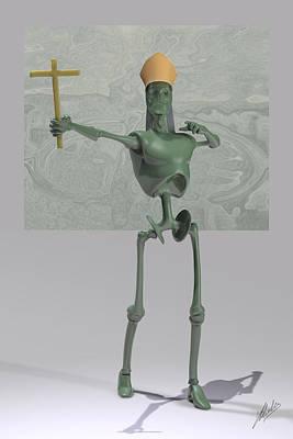 Robotics Mixed Media - Pope Robot Green Plastic by Joaquin Abella