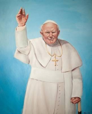Portrait Painting - Pope John Paul II Karol Wojtyla by Igor Danic
