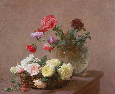 Poppies In A Crystal Vase - Or Basket Of Roses Print by Ignace Henri Jean Fantin-Latour