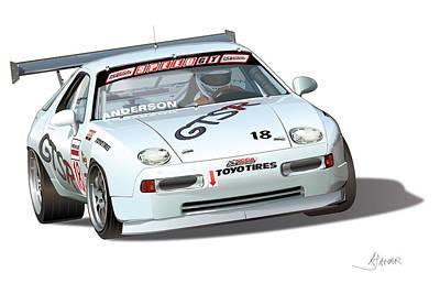 Anderson Digital Art - Porsche 928 Gts Racer by Alain Jamar