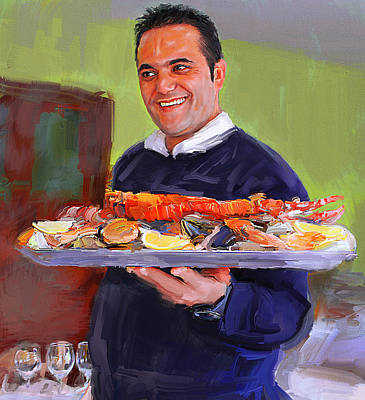 Port Vell Restaurant Barcelona Print by Yury Malkov