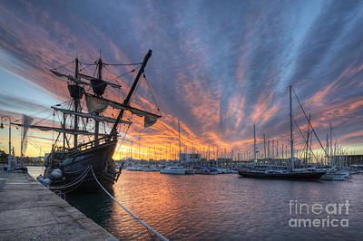 Port Vell Sunrise - Barcelona Print by Yhun Suarez