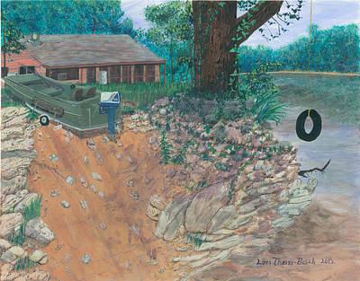 Portage River Cabin Original by Lori  Theim-Busch
