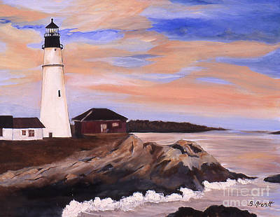 Portland Head Lighthouse Painting - Portland Head Maine Lighthouse by Boni Arendt