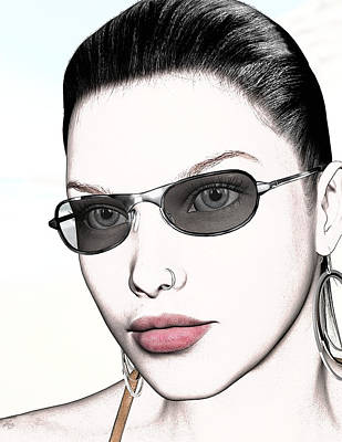Pin Up Nose Art Drawing - Portrait - No. 9 - Red Lips by Maynard Ellis