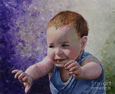 Portrait Of A Boy - Catch Me Print by Tatjana Popovska