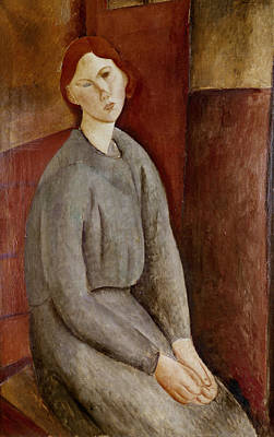 Abstraction Painting - Portrait Of Annie Bjarne by Amedeo Modigliani