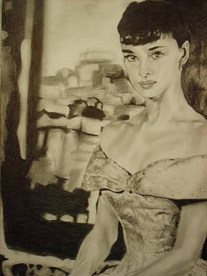 Audrey Hepburn Drawing - Portrait Of Audrey Hepburn IIi. by Agnes V