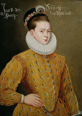 Portrait Of James I Of England And James Vi Of Scotland  Print by Adrian Vanson