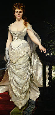 Evening Gown Painting - Portrait Of Mademoiselle X by Charles Emile Auguste Carolus Duran