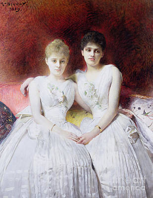 Gown Painting - Portrait Of Marthe And Terese Galoppe by Leon Joseph Bonnat