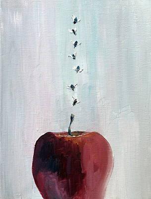 Portrait Of Seven Flies Flying Over An Apple Print by Fabrizio Cassetta