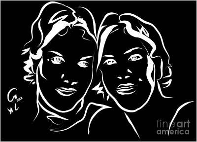 Portrait Art Painting - Portrait- Twin Sisters -  Black And White by Go Van Kampen