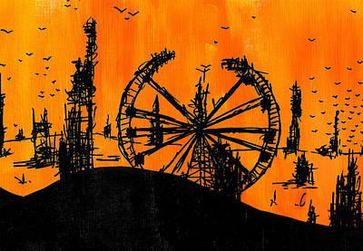 Desert Drawing - Post Apocalyptic Carnival Skyline by Jera Sky