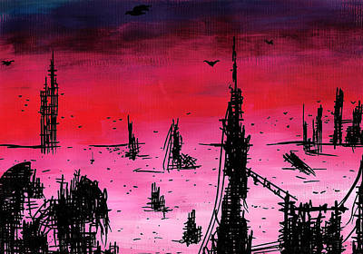 Desert Drawing - Post Apocalyptic Desolate Skyline by Jera Sky