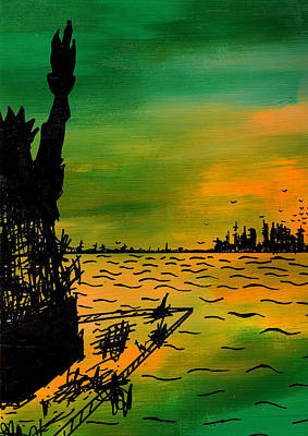 Statue Of Liberty Drawing - Post Apocalyptic New York Skyline by Jera Sky