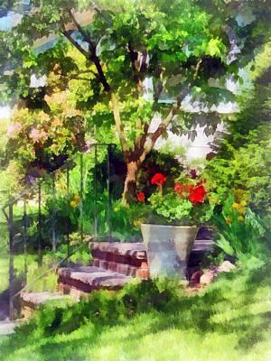 Pot Of Geraniums Near Steps Print by Susan Savad