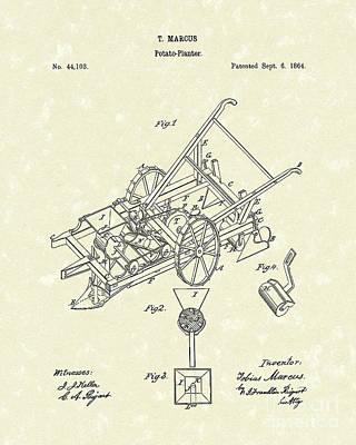 Potato Drawing - Potato Planter 1864 Patent Art by Prior Art Design
