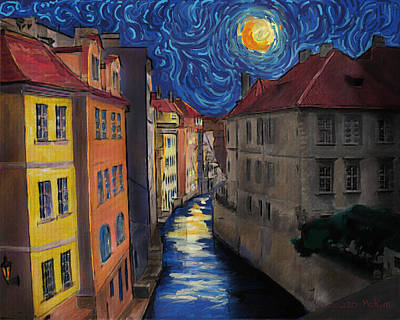 Prague By Moonlight Print by Jo-Anne Gazo-McKim