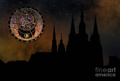 Prague Casle - Cathedral Of St Vitus - Monuments Of Mysterious C Print by Michal Boubin