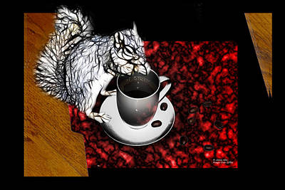 Prayer Over Coffee - Robbie The Squirrel Print by James Ahn