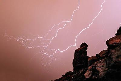 Praying Monk Camelback Mountain Lightning Monsoon Storm Image Print by James BO  Insogna