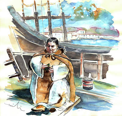 Preaching The Bible On The Conquistadores Boat In Vila Do Conde In Portugal Print by Miki De Goodaboom
