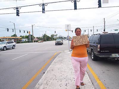 Homeless Photograph - Pregnant Beggar by Michael Dubiner