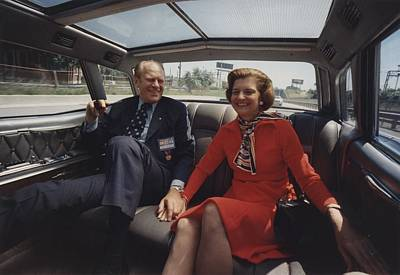 President And Betty Ford Hold Hands Print by Everett